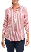 Foxcroft Women's Hope Preppy Stripe Cotton Shirt