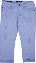 Vigoss Sky Blue Fray-Accent Crop Pants - Girls