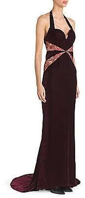 Stella McCartney Women's Velvet& Lace Halter Gown