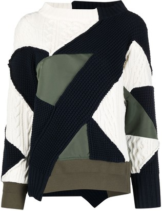 Sacai Patchwork Multi-Knit Jumper