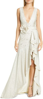 Badgley Mischka Sequin Ruffle Gown