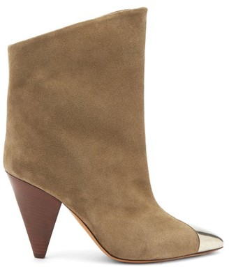 Isabel Marant Lapee Metallic-toecap Suede Ankle Boots - Beige