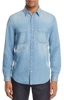7 For All Mankind Destroyed Denim Regular Fit Button-Down Shirt