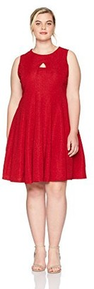 Julian Taylor Women's Plus Size Full Figured Keyhole Fit and Flare Dress