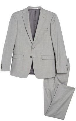 Calvin Klein Light Grey Solid Two Button Notch Lapel Suit