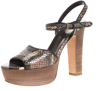 Gucci Multicolor Python And Leather Trim Danielle Platform Ankle Strap Sandals Size 38