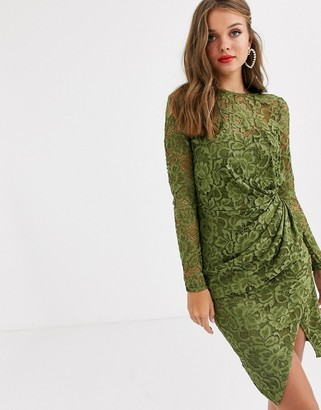 Paper Dolls long sleeve lace mini wrap dress in olive-Green