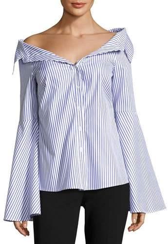 Caroline Constas Persephone Striped Décolleté Shirt