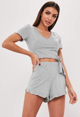 Missguided Grey Knot Front Cropped Pyjama Set