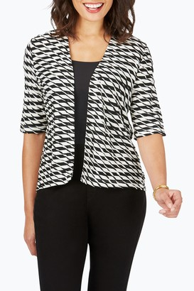 Foxcroft Dane Textured Stripe Elbow Sleeve Cardigan