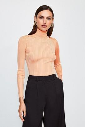 Karen Millen Knitted Rib Roll Neck Top