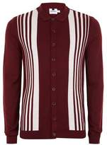Topman Mens Red Burgundy Button Down Knitted Polo