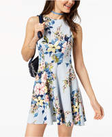Speechless Juniors' Floral-Print Cage-Back Dress