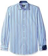 Bugatchi Men's Slim Fit Classic Blue Point Collar Long Sleeve Shirt