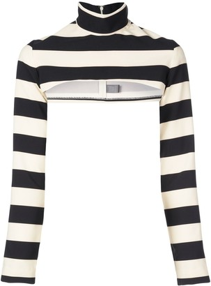 Christian Siriano Cropped Striped Jumper