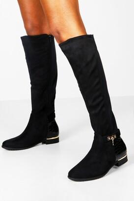 boohoo Croc Panel Stretch Back Flat Knee High Boots