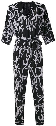 Andrea Marques All-Over Print Belted Jumpsuit