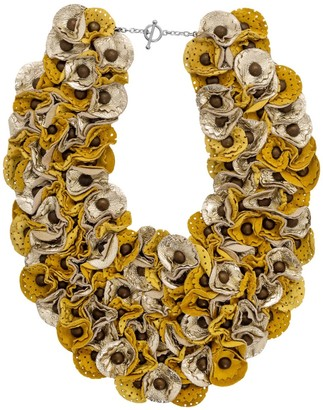 Manley Leather Embellished Piper Collar - Yellow & Gold