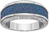 Brilliance+ Brilliance Silver Plated Glitter Striped Ring with Swarovski Crystals