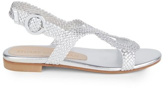 Stuart Weitzman Teodora Woven Metallic Leather Slingback Sandals
