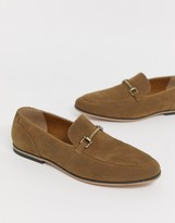 Asos Design DESIGN loafers in tan faux suede with snaffle