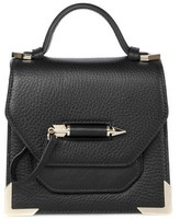 Mackage Rubie Structured Leather Shoulder Bag In Black / Gold