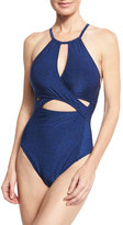 LaBlanca La Blanca Midnight Rain High-Neck Cutout One-Piece Swimsuit, Blue