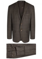 Corneliani Brown Checked Super 130s Wool Suit
