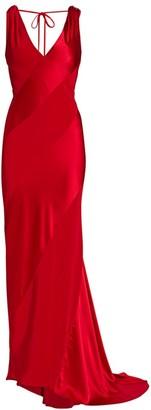Unttld Bias-Cut Satin Cowl-Back Gown