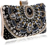 Flada Evening Clutch Bags Gift for Womens Crystal Rhinestone Bag with Chain