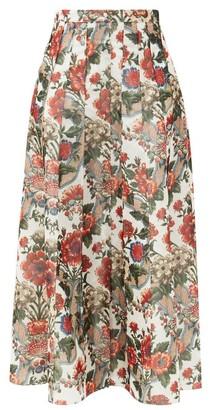 Brock Collection Sonia Pleated Floral-print Taffeta Midi Skirt - Red Multi