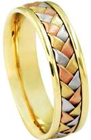 American Set Co. Men's Tri-color 14k White Yellow Rose Gold Woven 6mm Comfort Fit Wedding Band Ring size 12.25
