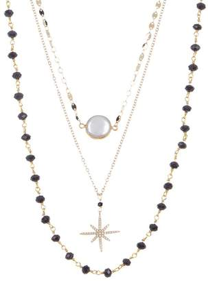 Panacea Faux Pearl & Star Beaded Layered Necklace
