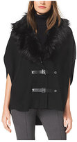 Michael Kors Faux Fur-Collared Buckled Poncho