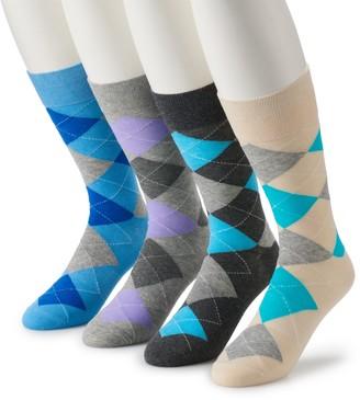 Croft & Barrow Men's 4-pack Opticool Argyle Pastel & Patterned Socks