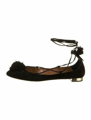 Aquazzura Suede Pom-Pom Embellishments Ballet Flats Black