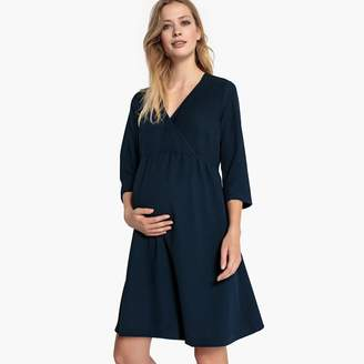 La Redoute Collections Wrapover Maternity Dress with 3/4 Length Sleeves