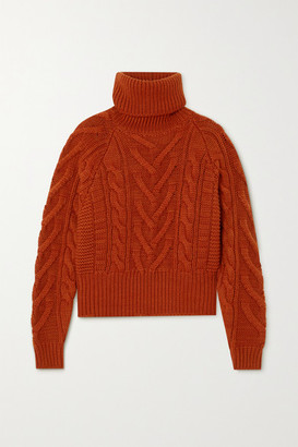 Dolce & Gabbana Cable-knit Wool And Cashmere-blend Turtleneck Sweater - Brick
