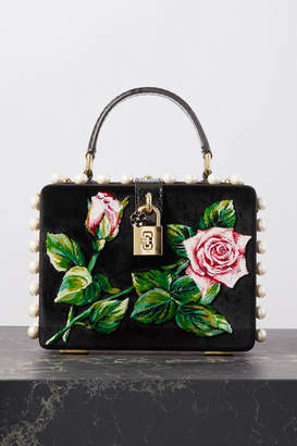 Dolce & Gabbana Dolce Box Embellished Embroidered Velvet And Watersnake Tote - Black