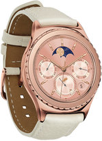Samsung Unisex Gear S2 classic Smart Watch with 40mm Rose Gold-Plated Case & Ivory Leather Strap SM-R7320ZDAXAR