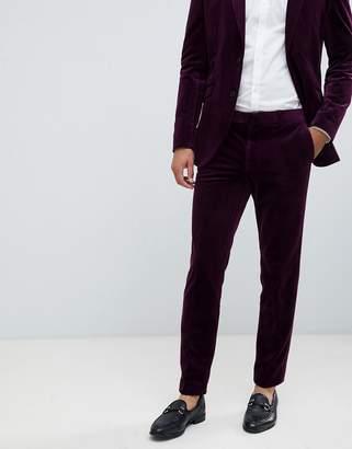 Jack and Jones Slim Fit Velvet Suit Trouser-Purple