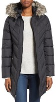 Larry Levine Women's Faux Fur Trim Hooded Jacket
