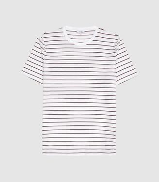 Reiss Joseph - Textured Striped T-shirt in Ecru/ Bordeaux