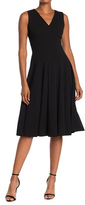 Calvin Klein V-Neck Fit & Flare Dress