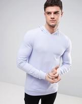 Asos Lightweight Muscle Hoodie In Purple