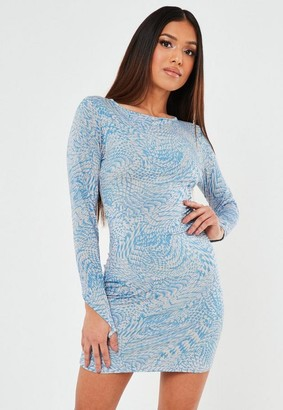 Missguided Blue Croc Effect Slinky Mini Dress