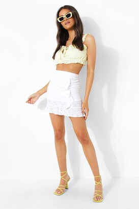 boohoo Broderie Jersey Frill Hem Mini Skirt