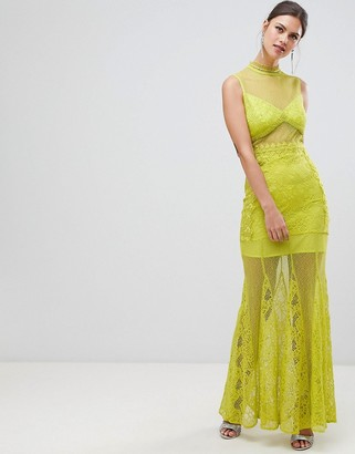 True Decadence Sheer Lace Maxi Dress With High Neck Detail-Green