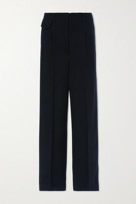 LVIR Pleated Herringbone Wool-blend Wide-leg Pants - Navy
