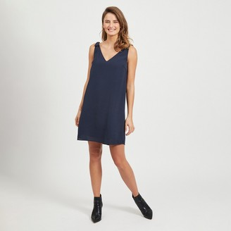 Vila Sleeveless Mini Shift Dress in Recycled Fabric with Shoulder Bow Detail